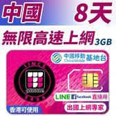 【TPHONE上網專家】中國無限上網 8天 前面3GB支援高速 使用中國移動訊號 不須翻牆 FB/LINE直接用