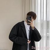 西裝外套 西裝男士新款韓版外套學生帥氣港風單上衣寬鬆小西裝男休閒西服潮  suger
