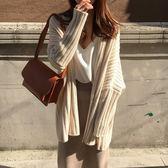 梨卡 - 秋冬氣質甜美純色寬鬆慵懶保暖中長版毛衣風衣針織外套BR141