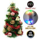 【摩達客】台灣製迷你1呎/1尺(30cm)裝飾綠色聖誕樹(金鐘糖果球系)+LED20燈彩光插電式(樹免組裝)