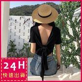 梨卡★現貨 - 夏日性感沙灘後綁帶顯瘦露背T恤短袖上衣B827