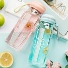 玻璃杯女便攜杯子花茶杯韓國創意簡約清新可愛帶蓋耐熱學生水杯   草莓妞妞