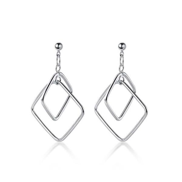 925純銀 幾何方形菱形 耳環耳針-銀 防抗過敏 無耳洞可改夾