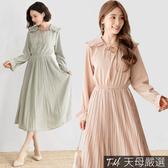 【天母嚴選】氣質荷葉領片連身長洋裝(共二色)
