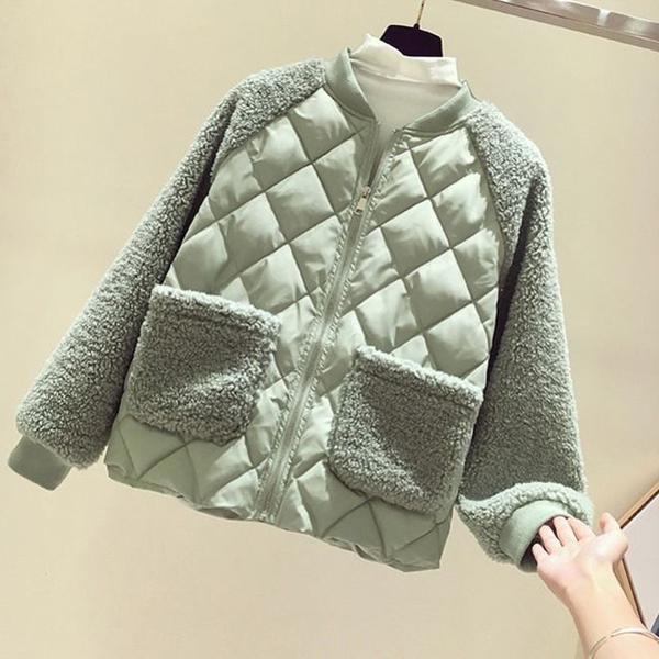外套 輕薄棉服女短款2020新款韓版寬鬆羊羔毛拼接棉衣菱格小棉襖外套冬