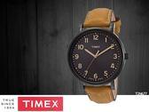 【時間道 】TIMEX天美時 經典簡約復刻皮帶腕錶– 黑面黑殼咖皮(T2N677/TXT2N677)免運費