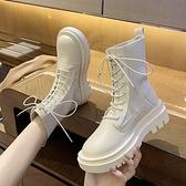 襪靴 厚底馬丁靴女英倫風春秋單靴2021新款網紅瘦瘦襪子靴夏季透氣短靴 韓國時尚週