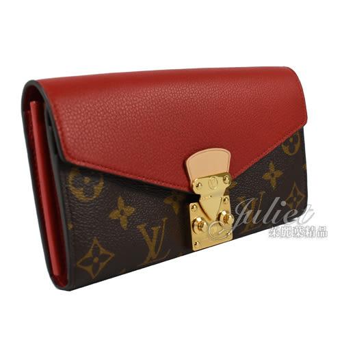 Louis Vuitton LV M58414 PALLAS 經典花紋皮革拼接壓扣零錢長夾.紅 全新 現貨 【茱麗葉精品】
