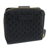 【奢華時尚】GUCCI 黑色雙G壓紋牛皮八卡拉鍊短夾(九成新)#25200