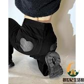 愛心黑色直筒牛仔褲女高腰顯瘦秋冬褲子【創世紀生活館】