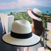 女夏季韓版太陽沙灘遮陽防曬白色草帽子
