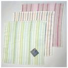 【衣襪酷】雙星 高雅條紋淡彩印花方巾(24x24cm) 居家必備良品《毛巾/澡巾/手巾/手帕》