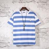 2019夏季韓版寬鬆休閒小清新刺繡圓領男短袖T恤學生條紋半袖體恤