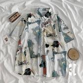 襯衣女夏季薄款短袖花襯衫女設計感小眾復古港味上衣【Kacey Devlin】