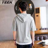 短袖t恤男青少年學生帶帽夏季五分中袖寬鬆衣服