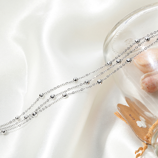 Z.MO鈦鋼屋 白鋼腳鍊 女性造型腳鍊 圓珠多層腳鏈 單品設計 高跟鞋女孩必備 單件價【FKS074】