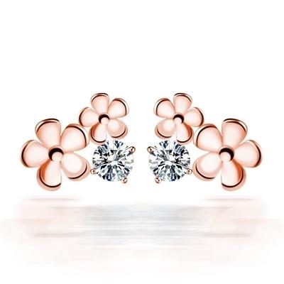 耳環 玫瑰金純銀鑲鑽銀飾-可愛花朵生日情人節禮物女飾品73dy79【時尚巴黎】