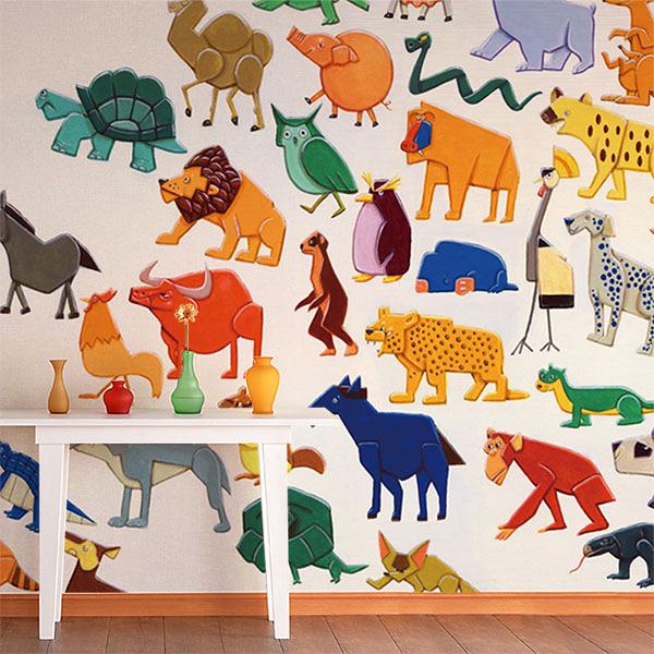 【日本製壁紙】[WALLTZ] Yoji Takamoto 【訂貨單位424cm×274cm/套(一套九張壁板)】動物 兒童房 crowd
