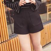 中大尺碼  高腰口袋闊腿短褲~共兩色 - 適XL~4L《 66072i 》CC-GIRL