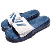 adidas 運動拖鞋 Alphabounce Slide 藍 白 舒適 回彈中底 涼拖鞋 三條線 男款【PUMP306】 BA8777