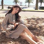 大韓訂製連身裙文青森林系娃娃襯衫連身裙翻領澎袖中長洋裝