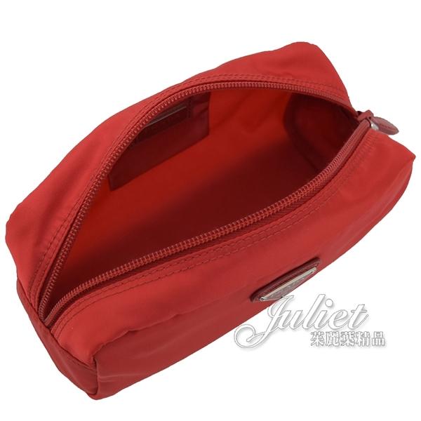 茱麗葉精品【全新現貨】PRADA 1NA350 三角LOGO尼龍萬用包/化妝包.紅