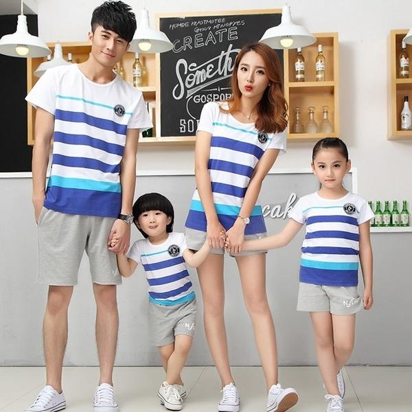 ★韓版JD-S1611★《彩藍寬條紋》短袖親子裝♥情侶裝
