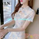 復古蕾絲旗袍改良版連衣裙子女裝夏裝小個子年輕款仙女【聚可愛】