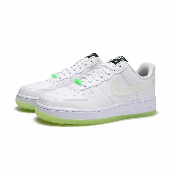 NIKE 休閒鞋 AIR FORCE 1 HAVE A NIKE DAY 白綠 笑臉 夜光 皮革 女(布魯克林) CT3228-100