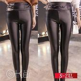 高腰加絨薄款緊身pu皮褲 S-2XL O-Ker嚴選 LLB1115-C