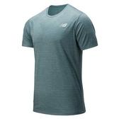 New Balance 男款藍綠色排汗短袖上衣-NO.AMT01012DRZ
