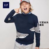 Gap男童 妙趣圖案圓領長袖針織衫 360861- 可愛鯊魚圖案