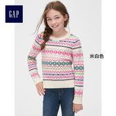 Gap女童 潮流印花長袖針織衫 395162-米白色