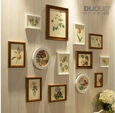 原創歐式 實木照片牆 相片相框牆組合13框臥室客廳 胡桃奶白