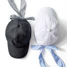 藍色條紋蝴蝶結彎檐鴨舌帽/棒球帽 2色【E297450】