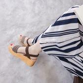 厚底涼鞋  涼鞋新款厚底百搭韓版羅馬女鞋坡跟涼鞋松糕鞋