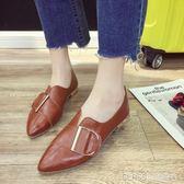 小皮鞋女復古韓版平底百搭單鞋英倫風女鞋子    琉璃美衣