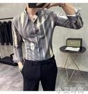 襯衫男長袖韓版帥氣修身輕奢潮流帥氣休閒高級感春季條紋男士襯衣- 小艾新品