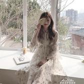 溫柔風少女初戀裙夏季韓國V領喇叭袖碎花雪紡洋裝長裙『夢娜麗莎』