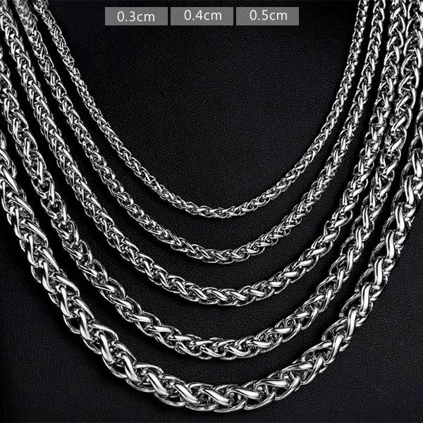 《 QBOX 》FASHION 飾品【N10BN1006】精緻個性花蘭繩環扣鈦鋼項鍊子/鋼鍊條(0.3/0.4/0.5cm)