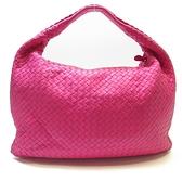 BOTTEGA VENETA 寶緹嘉 粉紅色編織羊皮肩背包 和尚包 彎月包 Veneta Hobo BRAND OFF