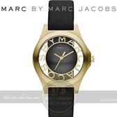 MARC BY MARC JACOBS國際精品巴洛克風浮雕鏤空腕錶-黑金/34mm MBM1340公司貨