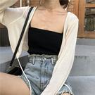 雪紡開衫夏季新款韓版防曬開衫女學生短款寬鬆系帶純色長袖百搭針織衫霓裳細軟