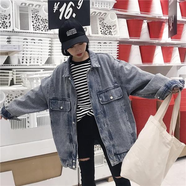 港風牛仔外套女複古秋裝免運新款韓版帥氣bf風寬松中長款夾克上衣