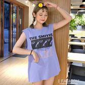 夏裝新款韓版寬鬆復古字母印花圓領無袖背心T恤學生休閒體恤上衣·Ifashion