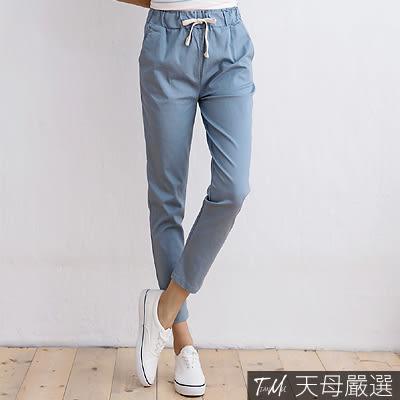 【天母嚴選】素面雙口袋抽繩綁帶休閒哈倫褲(共四色)