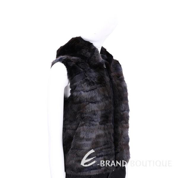 GRANDI furs 深藍/咖啡色毛草連帽背心 1540562-61