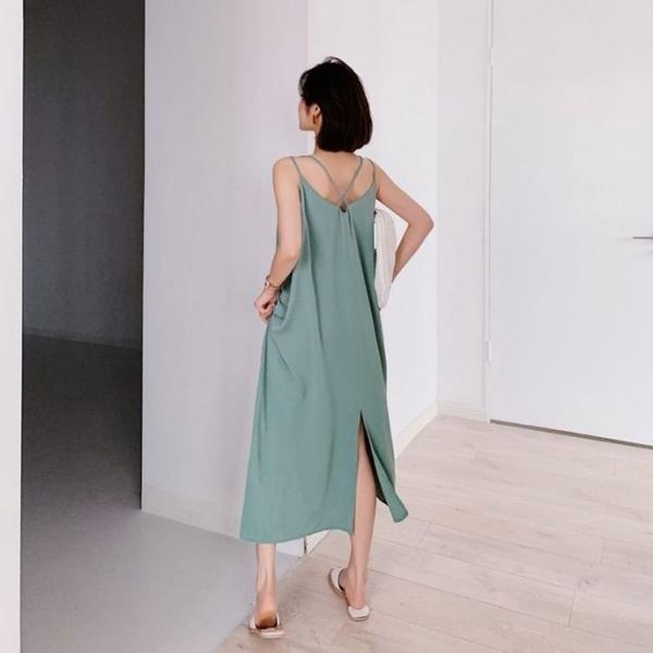 漂亮小媽咪 韓系美背交叉洋裝 【D8065】細肩帶 短袖 連身裙長版洋裝 長裙 孕婦裝 洋裝