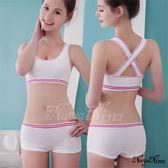 撞色彩條無縫低腰平口褲S-XL(白) 《生活美學》