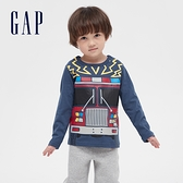 Gap男幼童 童趣創意印花圓領長袖T恤 663826-灰藍色
